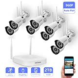 Wireless Security Camera System,Safevant Full-HD 8CH Video Security System with 8pcs 960P Wireless Security Cameras,65ft Night Vision,2TB HDD Pre-installed ,Auto-Pair,Plug&Play