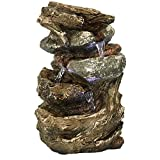 water and rock fountain - Sunnydaze Tiered Rock and Log Tabletop Fountain with LED Lights, 10.5 Inch