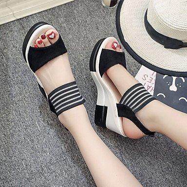 LvYuan Mujer Sandalias PU Primavera Verano Hebilla Tacón Cuña Negro Morrón Oscuro Caqui 7'5 - 9'5 cms Black