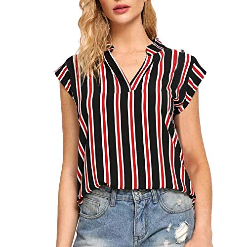 Estampado Camiseta Sin Cuello Blusa Mangas Casual De Tops Rayas La Multicolor En V Mujeres wwnqv0tdrp