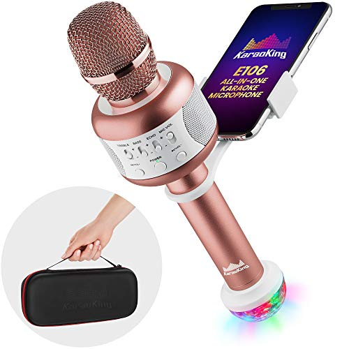 NEW Wireless Bluetooth Karaoke Microphone - Portable KTV Machine with Speaker + Free USB Disco Ball Light & Phone Holder Perfect for Pop, Rock n Roll Solo Parties & More (E106 2.0 Pink)