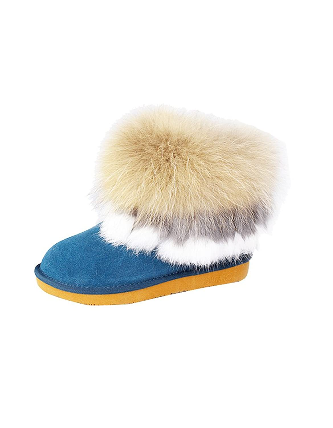 Ashlen Luxury Fluffy Faux Fox Fur Short Snow Boot Cold Weather Ankle Boots