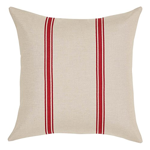 "VHC Brands Americana Farmhouse Pillows & Throws - Charlotte Tan 16"" x 16"" Pillow, Rouge"