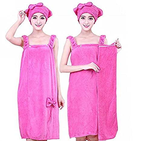 Amazon.com: Anna.W Microfiber Towel Bow-knot Bathrobes Womens Bath Shower with Dry Hair Cap Hat Towel Women Bath Towels: Home & Kitchen