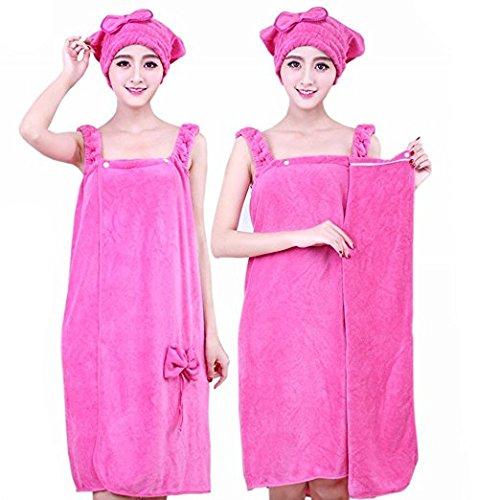 アンナ。wマイクロファイバータオルbow-knotバスローブレディースバスシャワーとドライヘアキャップ帽子タオルレディースバスタオル ピンク Towel004 B07B6T5QMD ピンク