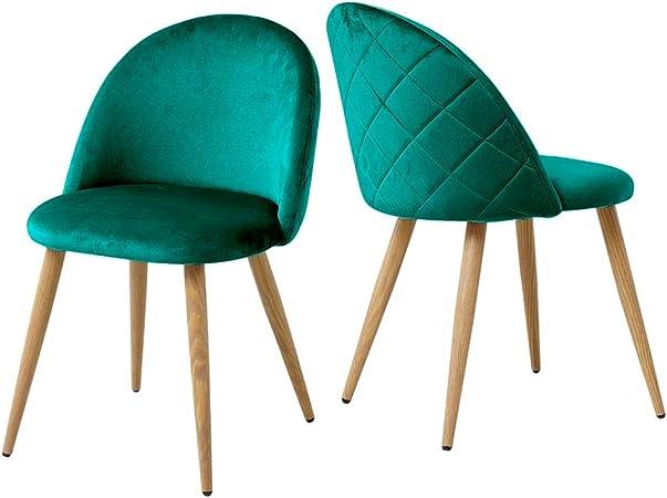 Lot de 2 chaises de salle à manger en velours capitonné avec dossier et pieds en métal pour salle à manger, salon et chambre à coucher, Velours tissu,