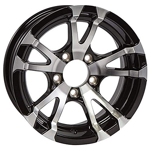 Two Aluminum Trailer Rims Wheels 5 Lug 13 in. Avalanche V-Spoke/Black