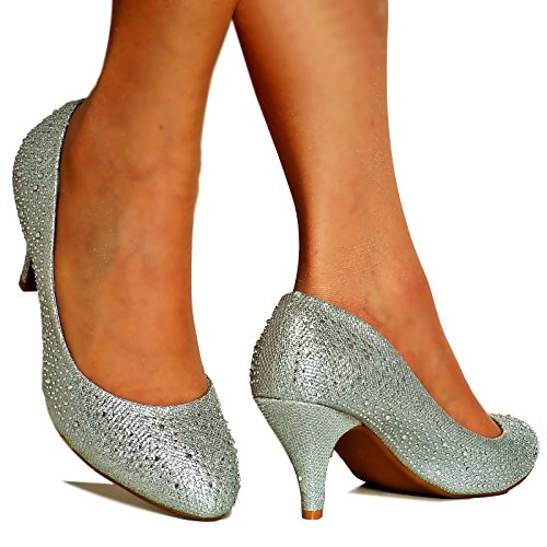 Size Styles Bridal Diamante Party Ladies Silver Shoes Low Rock Court on Pumps Heel Heel 5x8awBOq