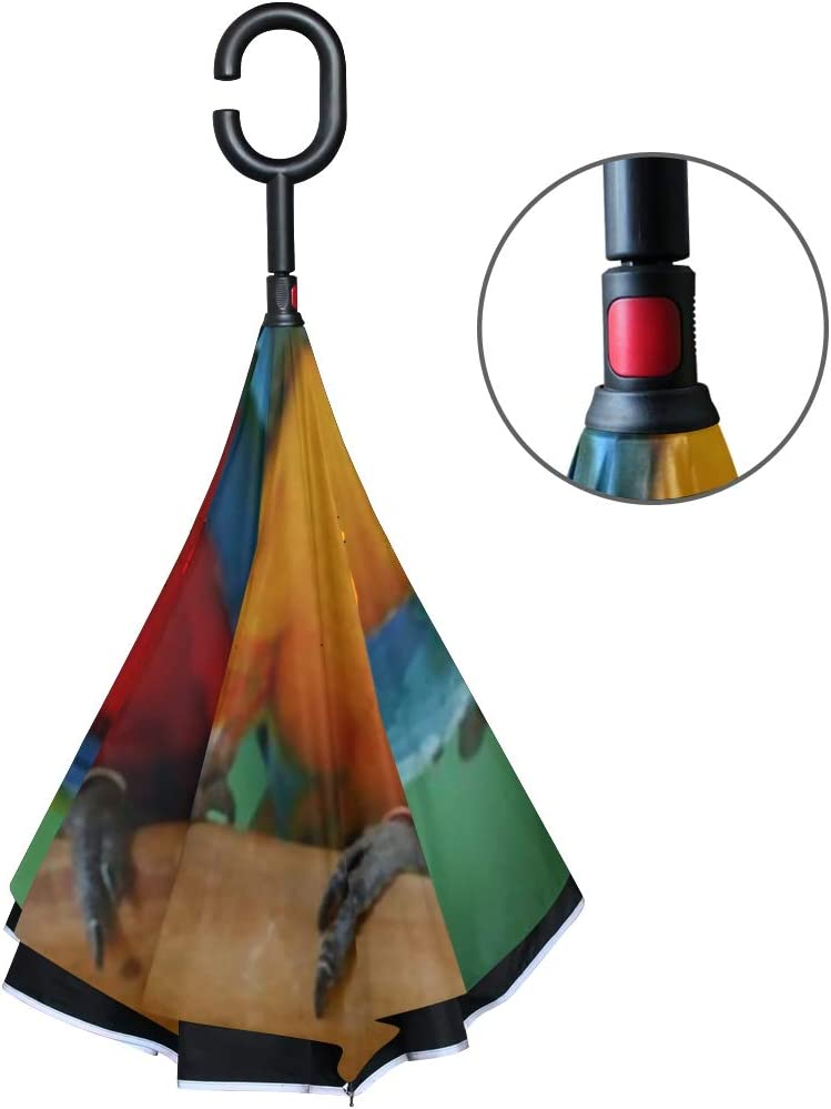 Double Layer Inverted Inverted Umbrella Is Light And Sturdy Couple Beautiful Macaws Reverse Umbrella And Windproof Umbrella Edge Night Reflection
