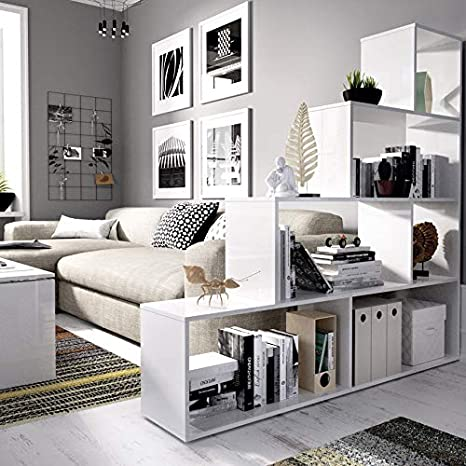 Estantería Blanca diseño Escalera, Funcional 6 Huecos para almacenar: Amazon.es: Hogar