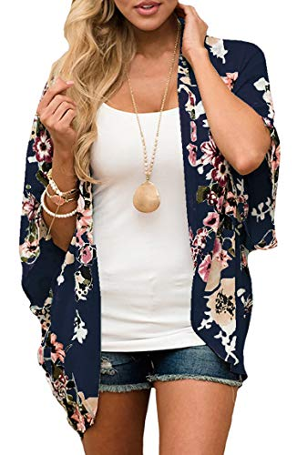 ECOWISH Womens Floral Print Loose Kimono Cardigan Beach Cover Up Blouse Tops D2007 Navy Blue 2XL