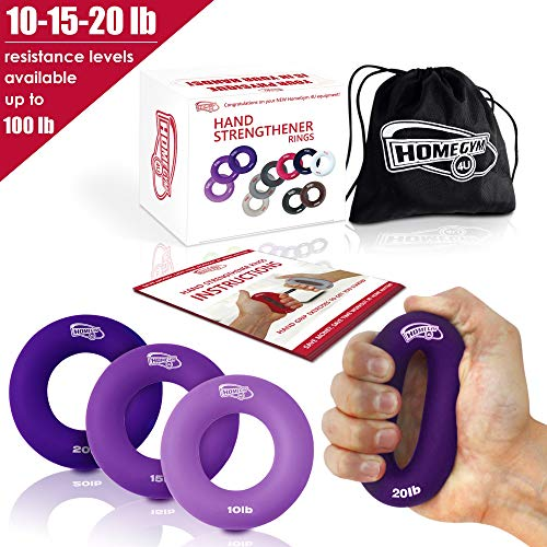 Grip Strength Trainer and Hand Strengthener - Hand Grip Strengthener and Grip Rings with 10-20lb Resistance - This Forearm Grip Workout is The Best Hand Exerciser Grip Strengthener for Carpal Tunnel