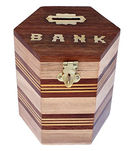 ITOS365 Handcrafted Wooden Money Bank Safe Kids Piggy Coin Holder Box Gifts, 4 x 4.8 Inches
