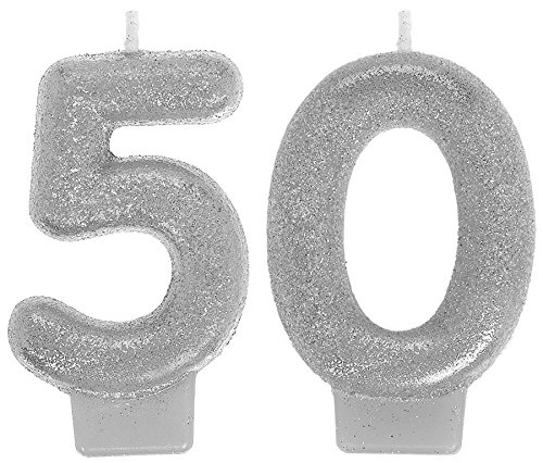 50th Birthday Candles - Amscan 170291 Sparkling Celebration 50 Numeral Candles, 3