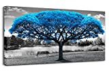 Wall Art Decor for Living Room Large Canvas Print Picture Blue Tree Black and White Landscape Decoration Modern Framed Artwork for Home Bedroom (20x40inchx1)