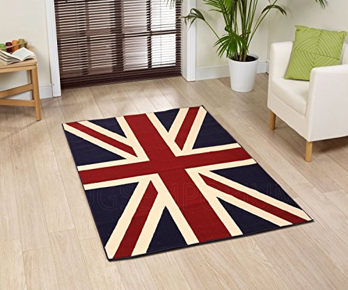 Large Traditional British Flag (UK Flag Union Jack) Style Carpet Traditional Oriental Area Rug 5ft x 8ft (Approx.) (8 Foot British Flag compare prices)