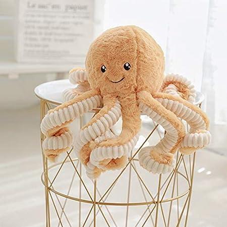 Asdomo - Pulpo de peluche, bonito animal marino de peluche, juguete marino de peluche de 40 cm, Algodón PP., marrón, Brown 40cm/15.75inch(height)