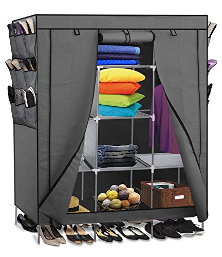 Durable and Space-Saving Breathable Fabric Portable Closet Storage Great for Dorm Rooms In Gray (Homemade Halloween Costumes Ideas 2015)
