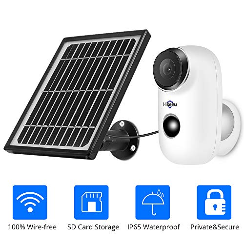 Solar Camera,1080P Outdoor Security Camera,2-Way Audio,Solar Powered,Rechargeable Batteries,IP65 Waterproof,Night Vision,App Remote,2.4GHz WiFi,6 Months Encrypted PIR Motion Recording,32GB Storage (Best Batteries For Solar Power Storage)