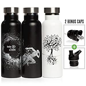 Black Stainless Steel Vacuum Insulated Double Walled Water Bottle + 2 BPA Free Sports Lids (1 with Straw). Eco Friendly, Sweat Proof, 20 oz Thermos Bottle by Involve & Evolve