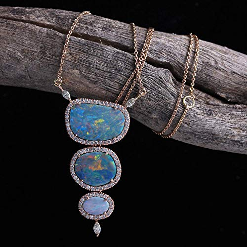 Genuine 4.96 Ct. Boulder Opal Pendant Solid 14k Rose Gold Pave Diamond Wedding Necklace Handmade Fine Jewelry Mother's Day Gift