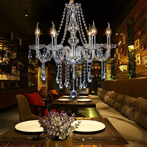 - SEFINN FOUR Candle Shape Crystal Lamp Ceiling Light Fixture Pendant Chandelier 21 X 27 inch 6 Bulbs,