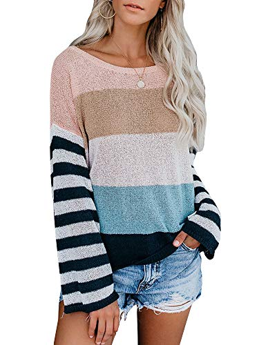 (Ybenlow Womens Off Shoulder Sweaters Batwing Sleeve Striped Lightweight Loose Oversized Pullover Knit Jumper Tunic Tops (Medium, Blue))