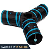 Prosper Pet Cat Tunnel - Collapsible 3 Way Play Toy - Tube Fun for Rabbits, Kittens, and Dogs - Black/Aqua