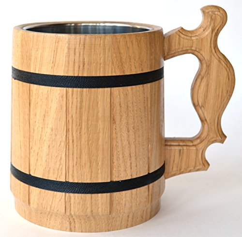 Handmade Beer Mug Oak Wood Stainless Steel Cup Gift Natural Eco-Friendly 0.6L 20oz Classic Beige