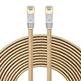 Cat 7 Ethernet Cable 25 ft, Flat Cat 7 RJ45 LAN Network Cable High Speed Durable Nylon Braid STP with Gold Plated Plug Golden