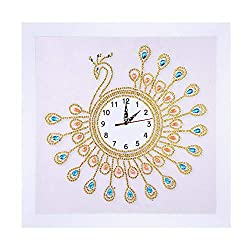 Special Shaped Diamond Painting,DIY 5D Peacock Wall Clock Partial Drill Cross Stitch Kits Embroidery Craft (Yellow, 35x35cm)