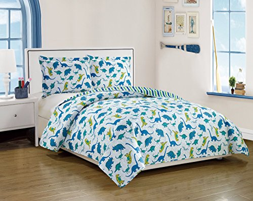 Dreamland Reversible Kid's Quilt Set-Dinosaur And Stripes Pattern-Twin Size (Dinosaur Quilt)