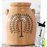 Gift Included-  Decorative Farmhouse Country Kitchen Primitive Utensil Crock or Flower Vase Willow Tree + FREE Bonus Water Bottle by  Homecricket