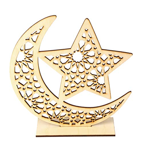 (Iusun Ramadan Decorations Wooden Moon Star Shapes Home Table Top Decor Pendant Wedding Festival Holiday Christmas Halloween Party Valentine's Day New Year Ornaments Craft Gifts (D-Ramadan))