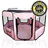 ToysOpoly Pet Playpen 45' Exercise Puppy Pen Kennel - Best for Dogs and Cats Safe in Their Play-pen While Protecting The Little Kids - Folding Design Easy Storage (Pink)