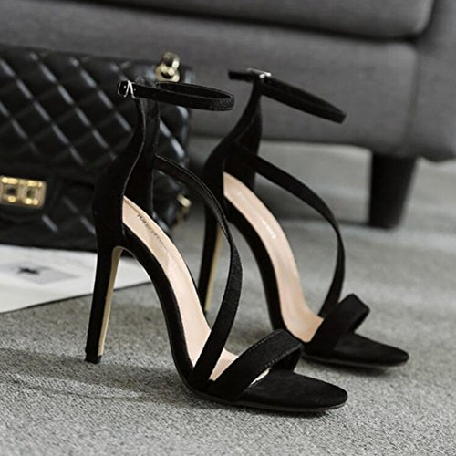 Black Sandali Office a PU da Primavera amp; nero tonda amp; GAOLIXIA Carriera Punta Scarpe Estate spillo Party Evening donna Tacco Abito CwRqxXg
