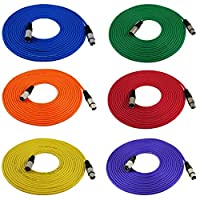 Cables de cable de micrófono GLS de audio de 25 pies - XLR macho a XLR hembra Cables de colores - Cable de Mike balanceado de 25 '- 6 PAQUETES