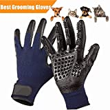 Pet Deshedding Glove Cat Dog Grooming Gloves Pets Hair Brush Remover Mitt-Enhanced ninja glove Five Finger Design-Perfect for Cats Dogs Horses with Long & Short Fur Shedding, Bathing, Massaging.
