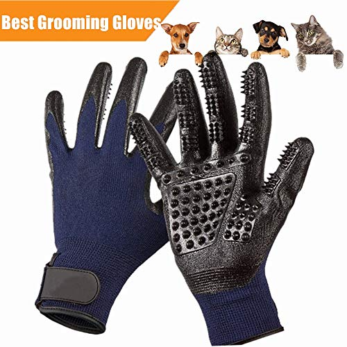 Pet Deshedding Glove|Cat Dog Grooming Gloves|Pets Hair Brush Remover Mitt|Enhanced ninja glove Five Finger Design Perfect for Cats Dogs Horses with Long & Short Fur Shedding, Bathing, Massaging. by ONERBEST