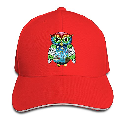[MayDay Colorful Owl Sports Sandwich Cap Red] (Crazy One Direction Fan Costume)