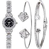 Souarts Women's Rhinestone Round Quartz Watch Bracelet Jewelry Set Silver Color Black