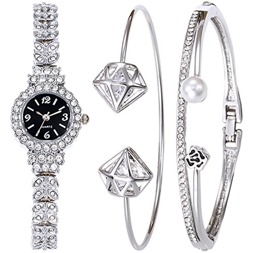 Souarts Women's Watch Set-Round Quartz Wacth Hollow Rhinestone Band Watch Simple Cuff Bangle Bracelet Jewelry Set Color Silver