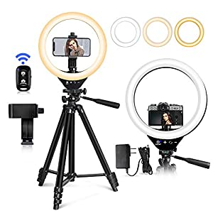 """EICAUS 10"""" Ring Light with Stand and Phone Holder, Cell Phone Tripod with Ringlight and Phone Holder, Selfie Ring Light…"""