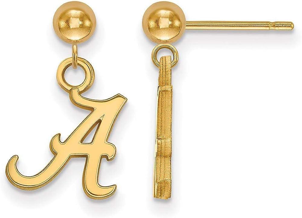 Lex /& Lu LogoArt Sterling Silver w//GP University of Alabama Earrings Dangle Ball