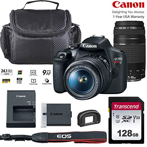 Canon EOS Rebel T7 DSLR Camera with 18-55mm & 75-300mm Zoom Lens Bundled Kit with 128GB Memory & Case (Holiday Special)