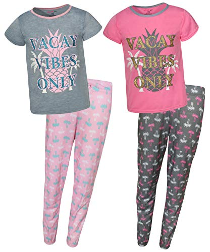 dELiAs 2-Pack Girls Pajama Sleepwear Sets (2 Full Sets), Vacay Vibes, Size 14-16' -