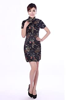 6b8721eadb92c (上海物語) Shanghai Story 龍と鳳凰の柄半袖 カラー ミニ チャイナドレス!(レディース、女性用)ドラゴン 刺繍…