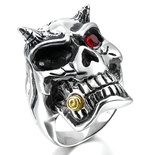 Aooaz Stainless Steel Rings For Men CZ Silver Black Gold Red Devil Skull Bands Size 7 Free Engraving