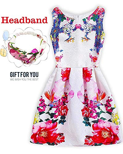 2019 Girls Dress Sleeveless Butterfly Print Princess Dresses Casual Sundress with Headband for Holiday Wedding Party