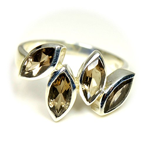 Jewelryonclick Genuine Marquise Cut Smoky Quartz Sterling Silver Ring Size US 4 to 12 ()